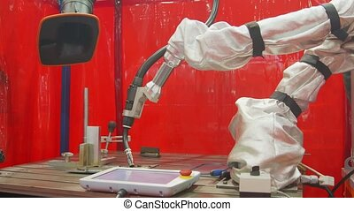 Automated robotic equipment at work closeup footage