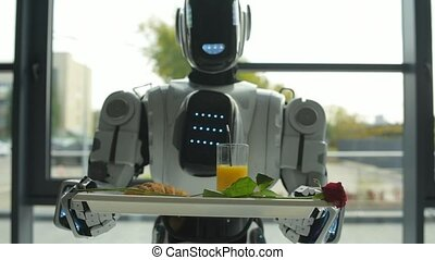 Automated robotic machine delivering romantic breakfast