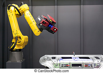 Automated scanning. 3D Scanner mounted on robotic arm. -...
