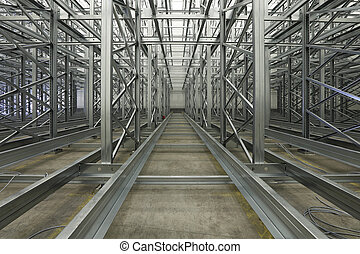 Automated shelving system - Shelving system rails in...