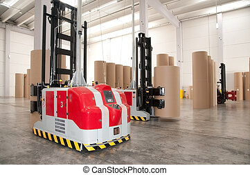 Automated warehouse (paper) with robotic forklift -...