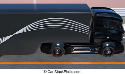 Automatic braking system concept. 3D rendering animation.