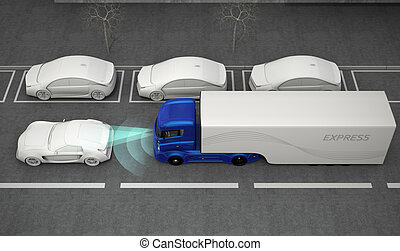 Automatic braking system concept - Blue truck stopped by ...