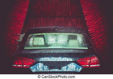 Automatic Brush Car Wash in Action. Elegant Modern Full Size...