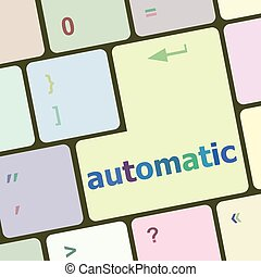 automatic button on computer keyboard key vector illustration