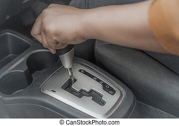 Automatic Car Gear Shift Transmission - Close up image of...