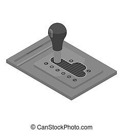 Automatic car gearbox icon, isometric style