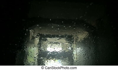 Automatic car wash view from inside the car - Windscreen of...