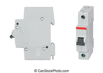 Automatic circuit breaker isolated on white background, set
