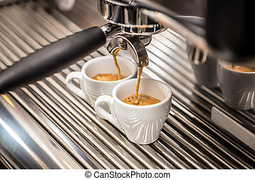 Automatic coffee maker - Coffee flowing from the nozzle...