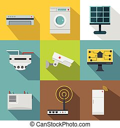 Automatic electronic devices icon set, flat style
