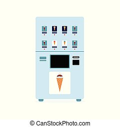 Automatic food vending machine with ice cream flat vector illustration isolated.
