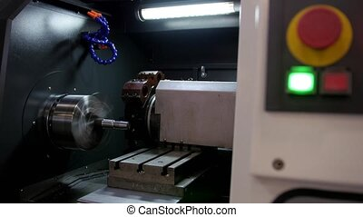 Automatic for machine processing of metal, industrial background