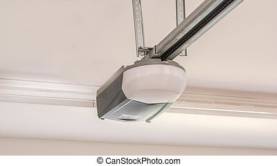Automatic Garage Door Opener Motor on the Ceiling. Close Up.