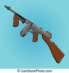 Automatic gun comic book style pop art vector