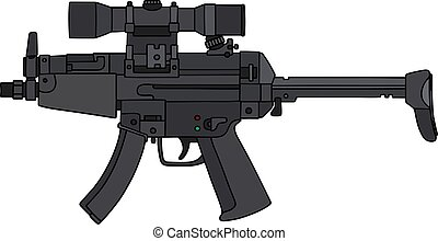 Hand drawing of a submachine gun with an optical sight