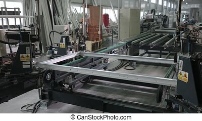 Automatic line machine for sticking PVC sections