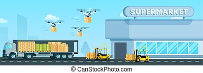 Automatic Loader, Flying Drone, Delivery Truck
