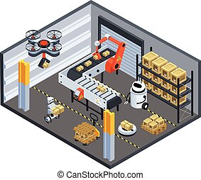 Automatic Logistics Delivery Isometric Background - ...