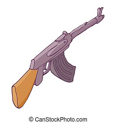 Automatic machine AK 47 icon, cartoon style - icon in...