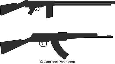 Automatic machine gun AK 47 isolated on white, black...