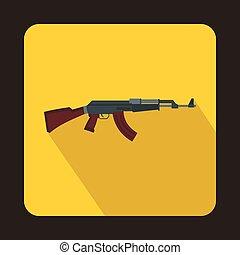 Automatic machine gun icon, flat style