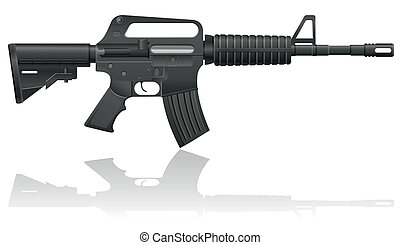 automatic machine M-16 vector illustration isolated on white...