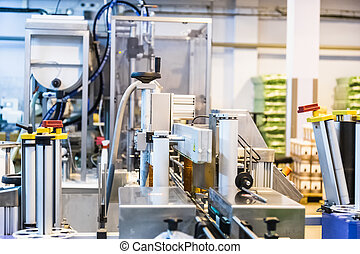 Automatic packing line of conveyor. Pharmaceutical and chemical industry. Manufacture on factory