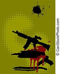 automatic rifle and handgun-silhouette