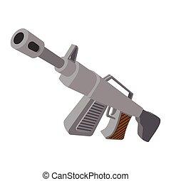 Automatic rifle cartoon icon isolated on white background