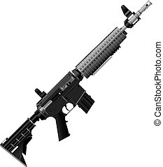 Automatic rifle for operational work. Vector illustration.