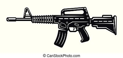 Automatic rifle vector monochrome illustration isolated on...