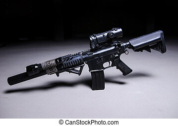 Automatic rifle with silencer and optical scope