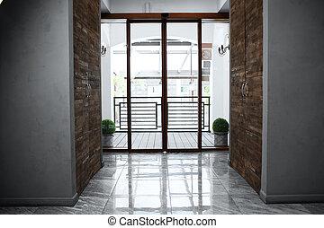 Automatic sliding doors at hotel reception entrance