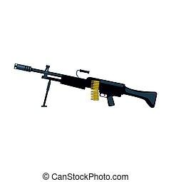 Automatic sniper machine gun. Military weapon vector...