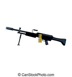 Automatic sniper machine gun. Military weapon vector Illustration