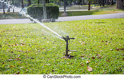 Automatic sprinkler watering in the garden - Automatic...