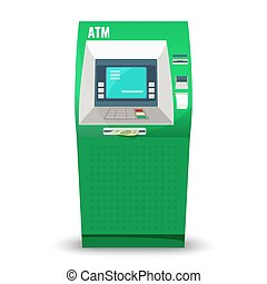 Automatic teller machine isolated on white background....