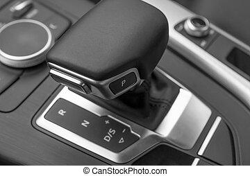 Automatic Transmission Stick and Elegant Car Interior