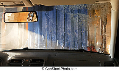 Automatic tunnel car wash. View from inside. - Automatic...