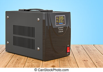 Automatic voltage stabilizer on the wooden planks, 3D rendering
