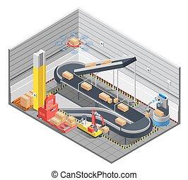 Automatic Warehouse Isometric Interior