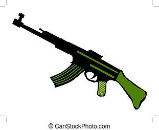 automatic weapons - silhouette of automatic weapons