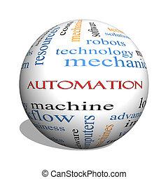 automation, 3d, sphère, mot, nuage, concept