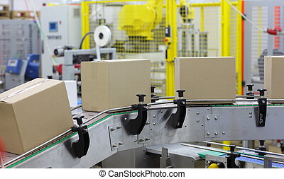automation - boxes on conveyor belt - automation - Cardboard...