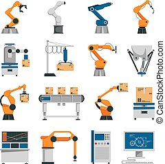 Automation Icons Set - Automation icons set with robot and...