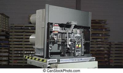 automatique, etagère., grand, fusibles, électrique, industriel, casseur, vide, circuit