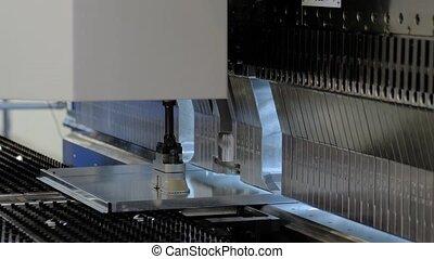 automatique, fonctionnement, hydraulique, usine, courber, machine, métal, feuille