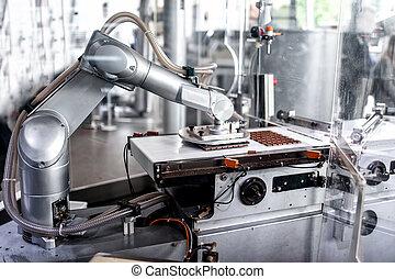 automatique, robotique, en mouvement, préparer, main