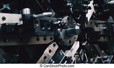 automatisé, acier, concept., ingénierie, industrie, springs...